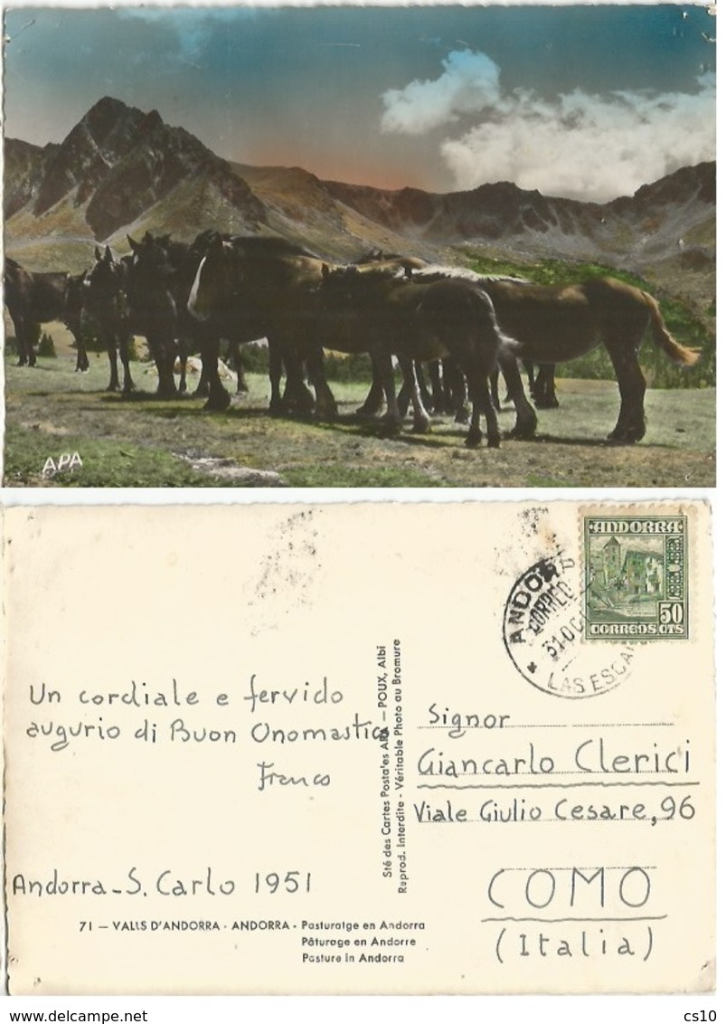 Valls D'Andorra Wild Horses At Pasture Color Pcard 31oct1951 X Italy With Regular C50 Solo - Andorra