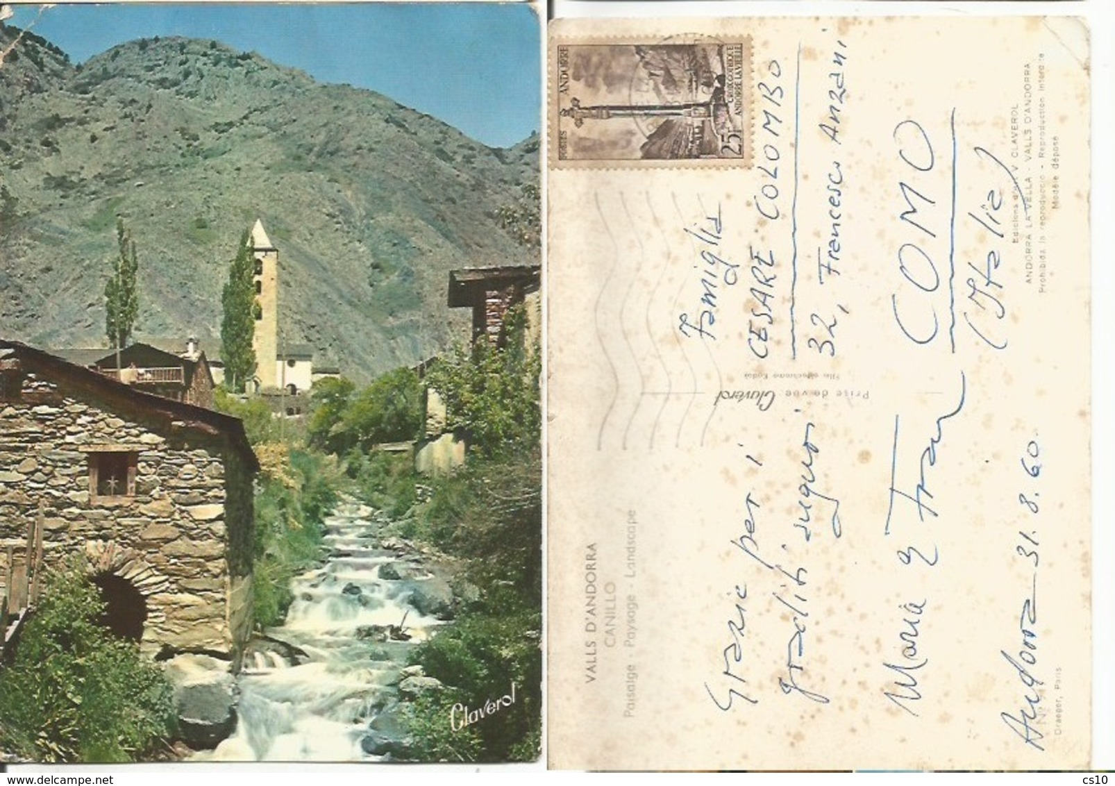Valls D'Andorra Canillo - The Church Typical Landscape Color Pcard 31aug1960 X Italy With Regular F25 Solo - Andorra