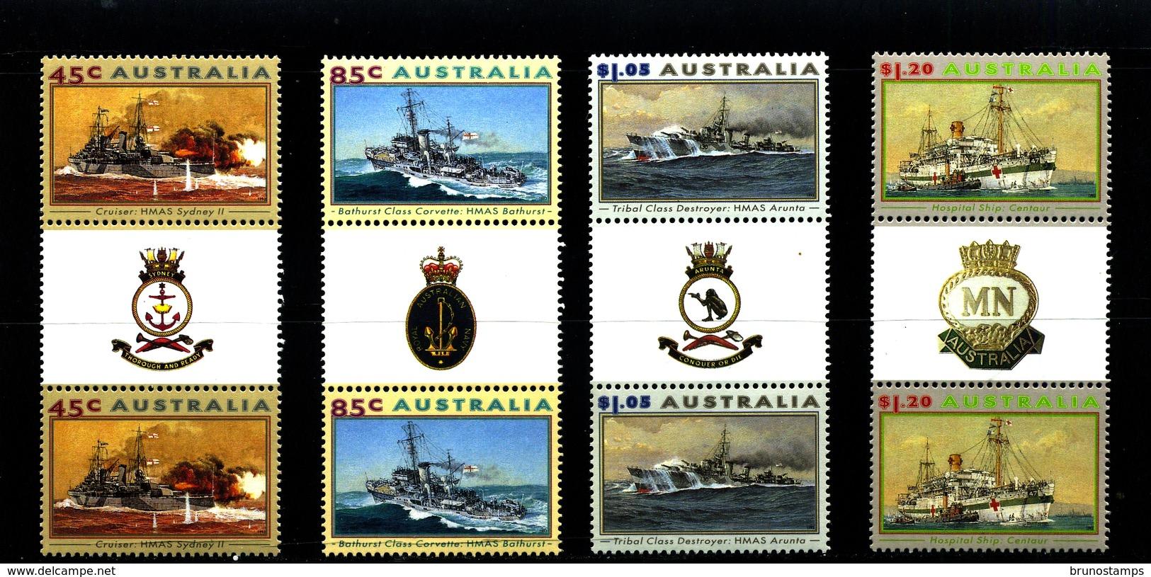 AUSTRALIA - 1993  NAVAL  WAR VESSEL  SET   UNFOLDED  GUTTER PAIRS   MINT NH - 1990-99 Elizabeth II