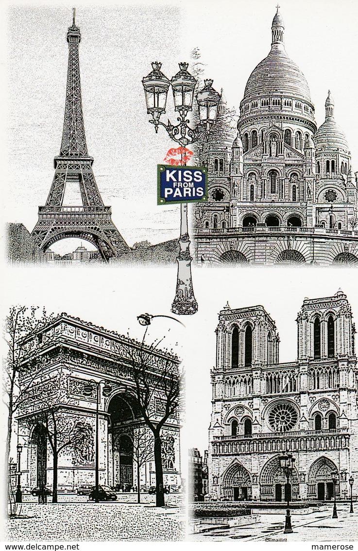 KISS FROM PARIS. Illustrations: TOUR EIFFEL, BASILIQUE SACRE COEUR, ARC DE TRIOMPHE, Cathédrale NOTRE-DAME - France