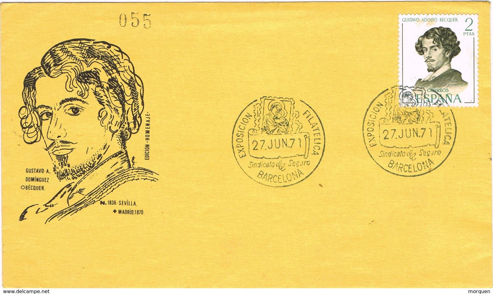 31871. Carta Exposicion BARCELONA 1971. Sindicato Seguro. Gustavo Adolfo BECQUER - 1931-Hoy: 2ª República - ... Juan Carlos I