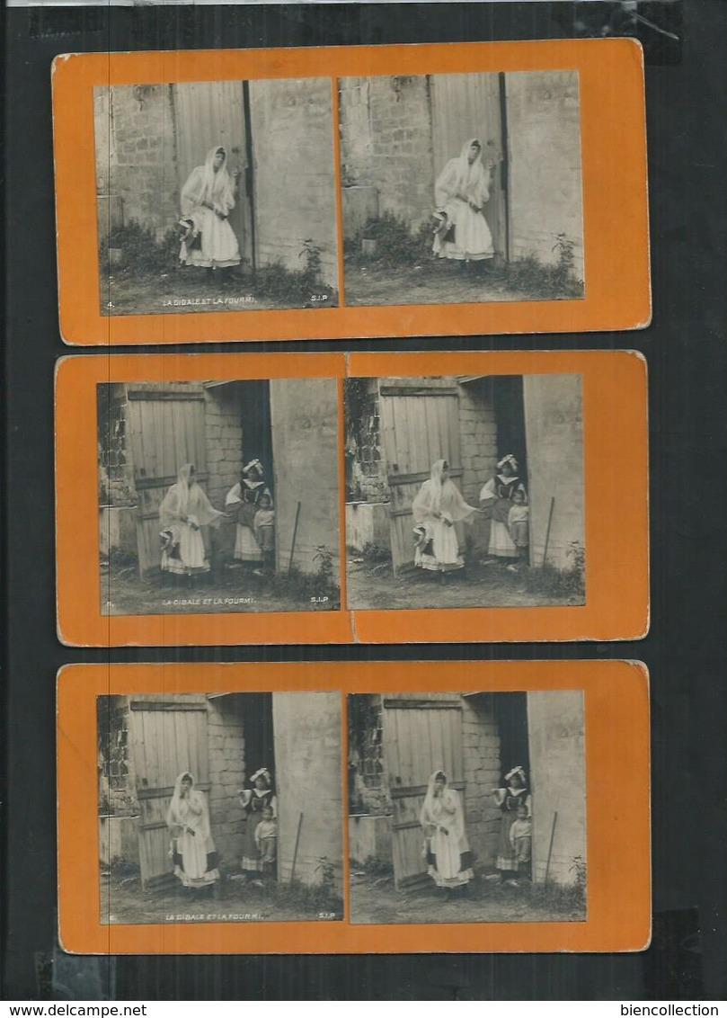 Série De 6 Photos Stéréoscopiques , La Laitiere Et Le Pot Au Lait - Photos Stéréoscopiques