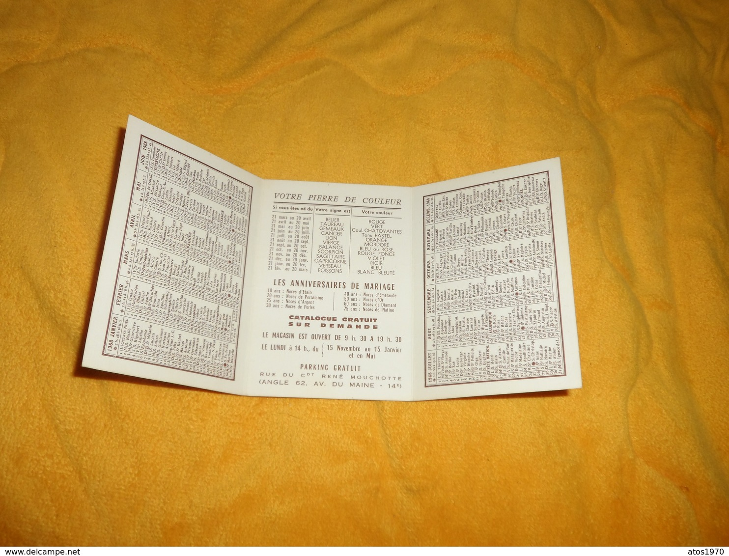 PETIT CALENDRIER DE 1968.../ ROBERT FRAIOLI HORLOGERIE BIJOUTERIE PARIS XIVe.. - Petit Format : 1961-70