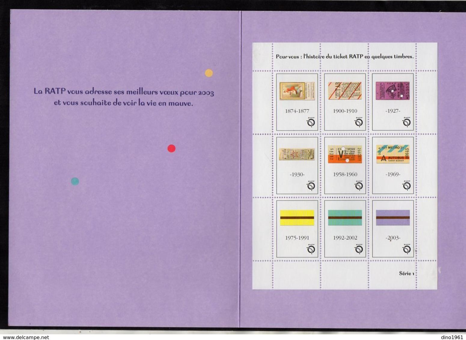 VP14.522 - PARIS 2003 - Métro - Carte De Voeux De La RATP - L'Histoire Du Ticket RATP En Quelques Timbres - Old Paper