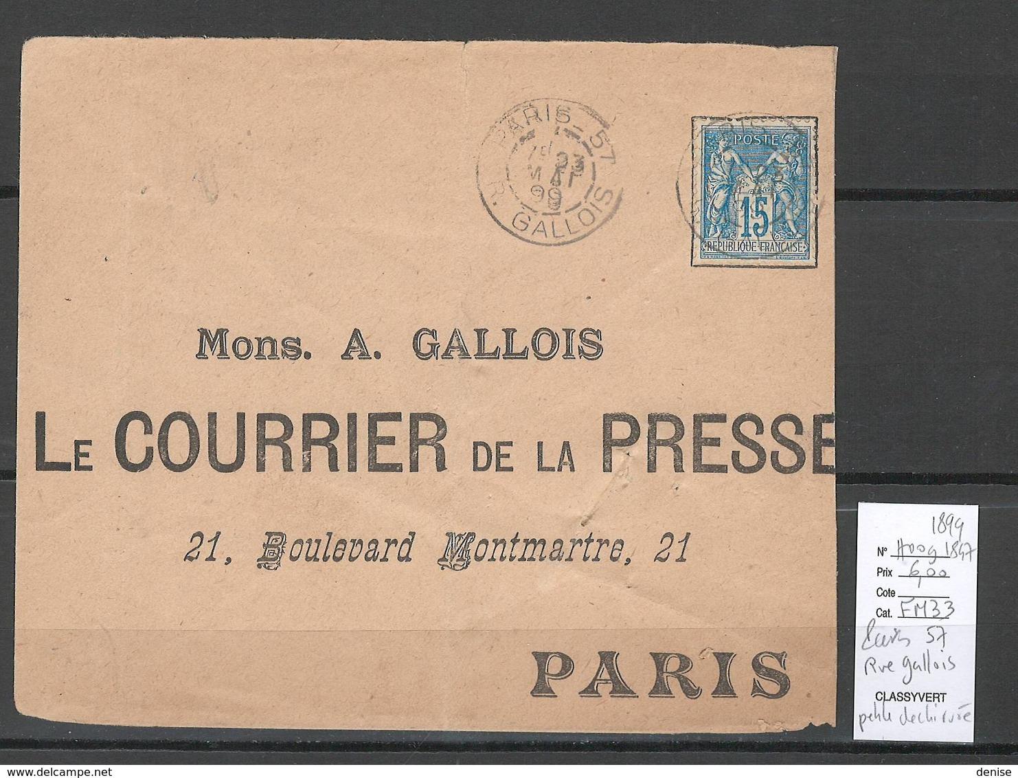 France  Cachet Paris Bureau 57 - Rue Gallois - 1899 - Postmark Collection (Covers)