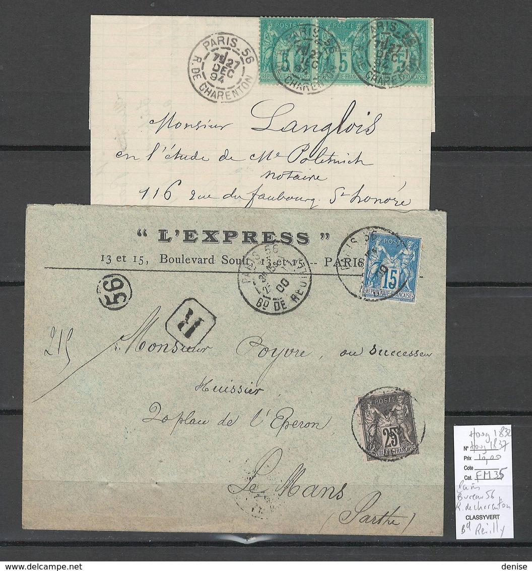 France  Cachet Paris Bureau 56 - Bd De Reuilly - Rue De Charenton - Type Sage - Postmark Collection (Covers)