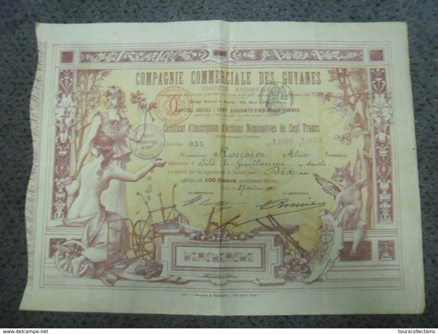 RARE ACTION COMPAGNIE COMMERCIALE DES GUYANES Art Nouveau 1898 Artiste Auguste Francois (Marie) Gorguet (1862-1927) - Actions & Titres