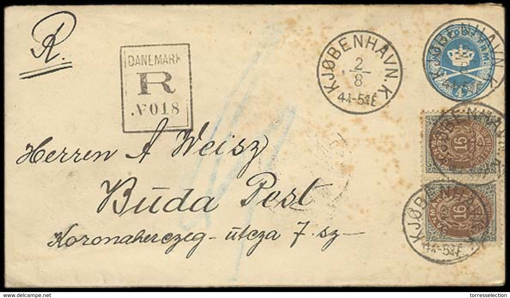 DENMARK. 1891. Copenhagen - Hungary. Registered 40 Stat Env + Adtl. 160 Pair, Printing XIII / Or / 46 - 78. Some Spots O - Non Classés