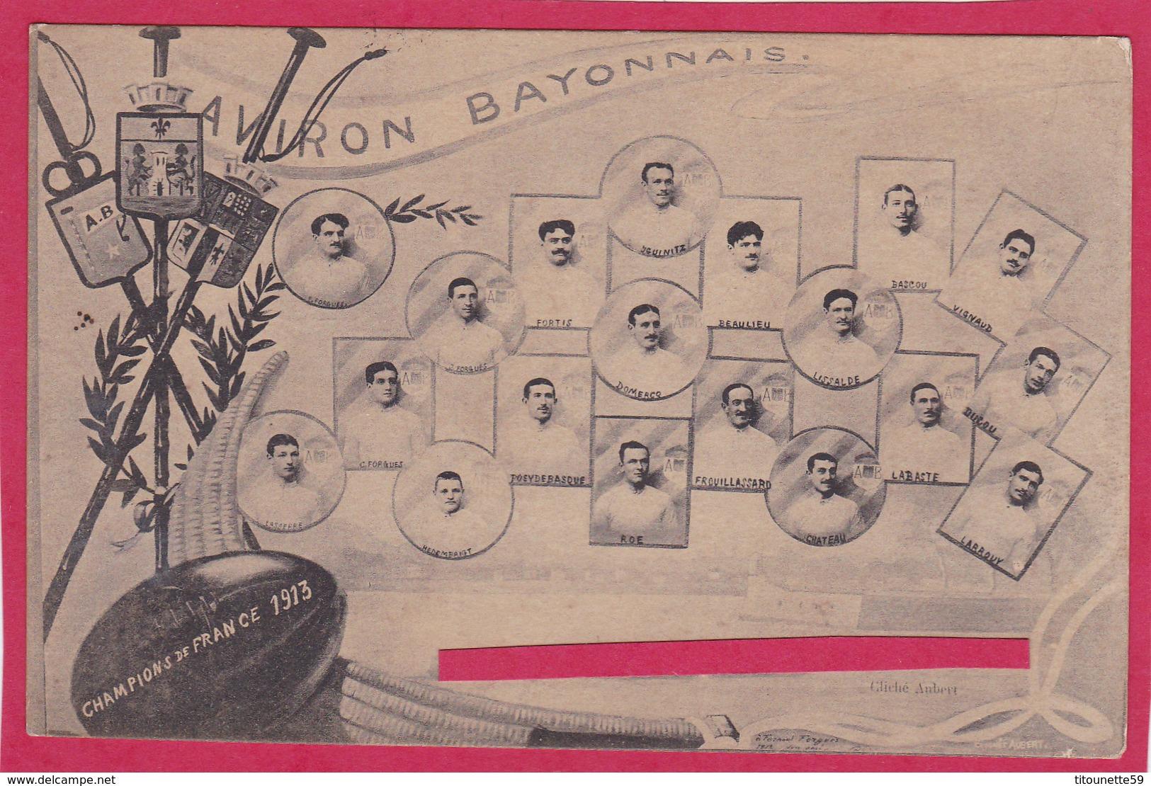 64-AVIRON BAYONNAIS - CHAMPIONS De FRANCE 1913 (Nommés Sous Chaque Photo)-SPORT- AVIRON- - Aviron