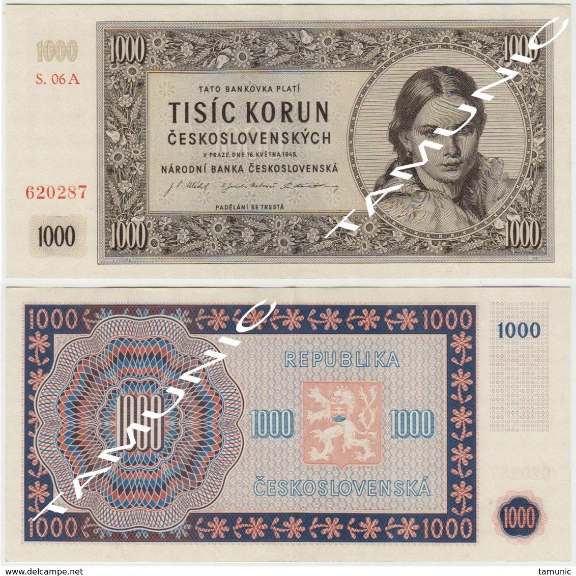 CZECHOSLOVAKIA CESKOSLOVENSKA 1000 Korun 1945 - Tchécoslovaquie