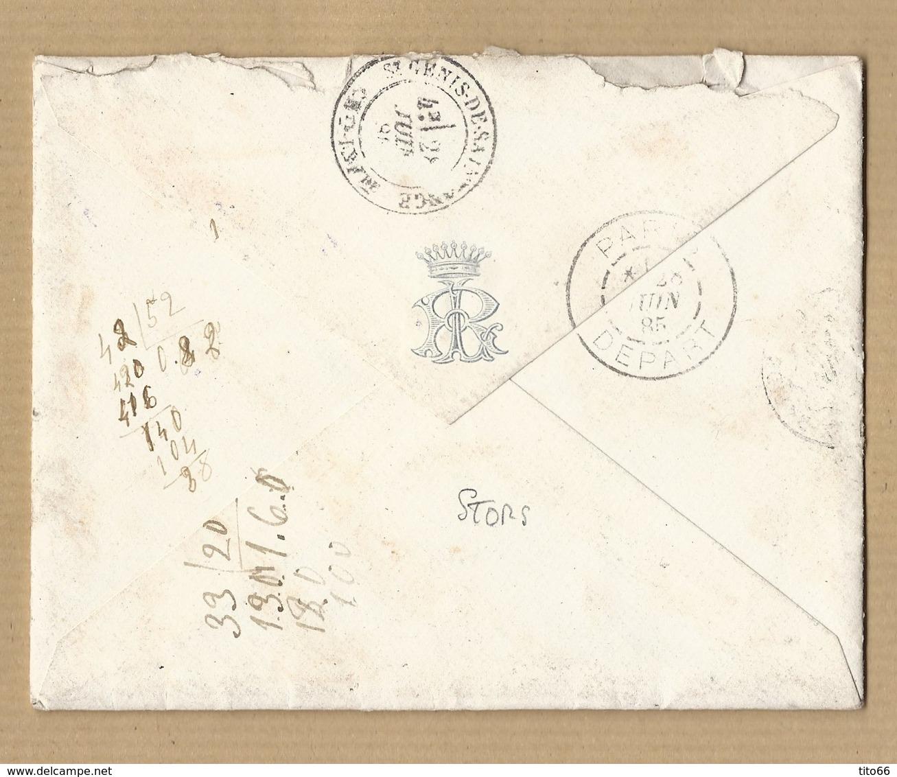 Sage 15c Bleu Sur Enveloppe Avec Texte Adressé A La Vicomtesse De Lestrange TAD L'Isle Adam Vers Saintonge 27/6/85 - Marcophilie (Lettres)