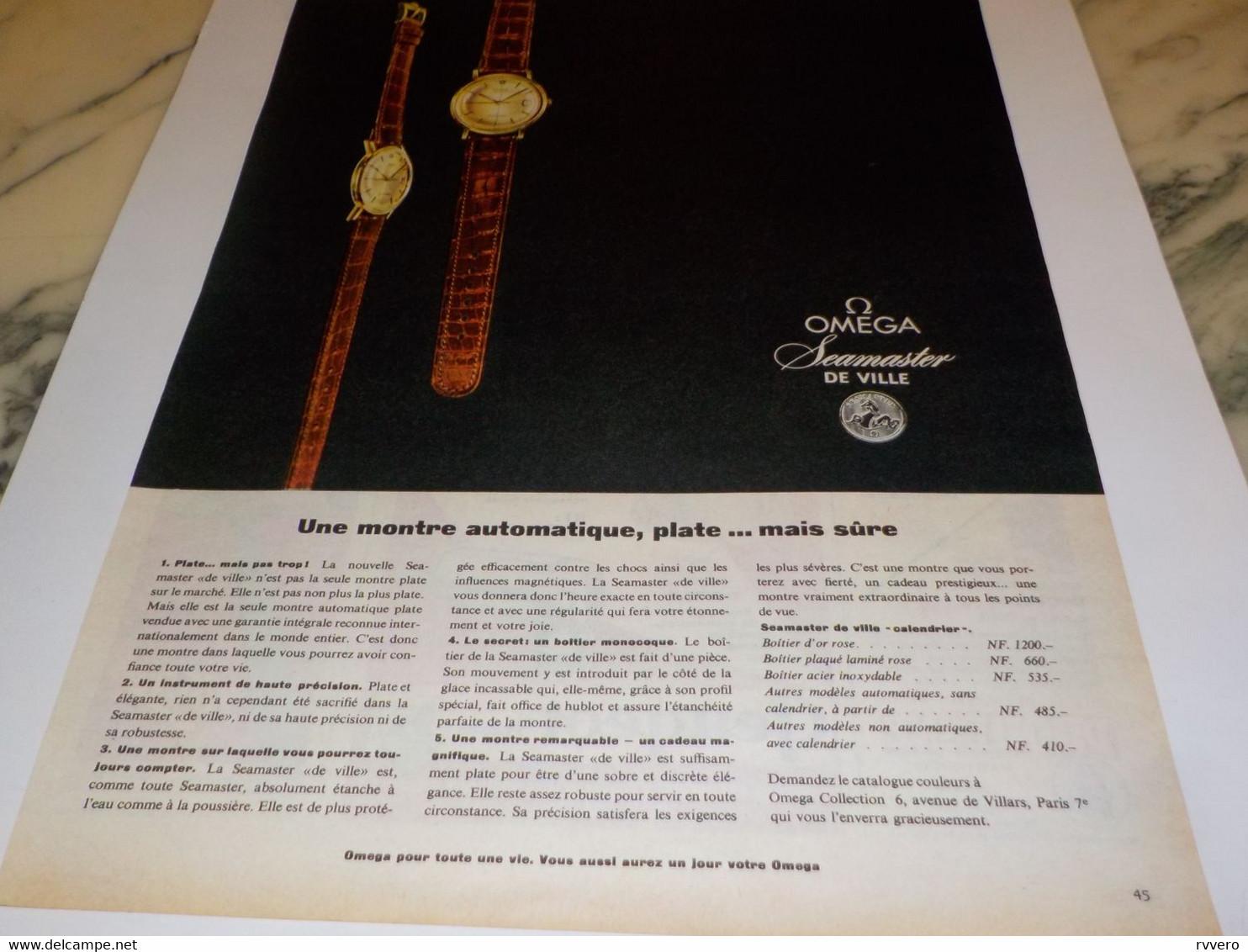 ANCIENNE PUBLICITE MONTRE OMEGA SEAMASTER DE VILLE 1960 - Autres
