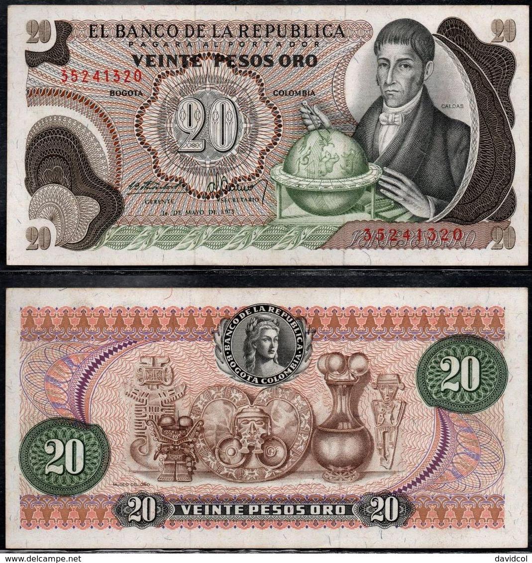 COLOMBIA - 1973 - VEINTE PESOS ORO ( $ 20 ) - UNCIRCULATED. CONDITION 9/10 - Colombie