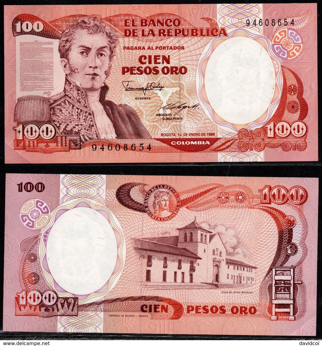 COLOMBIA - 1986 - CIEN PESOS ORO ( $ 100 ) - UNCIRCULATED. CONDITION 9/10 - Colombie
