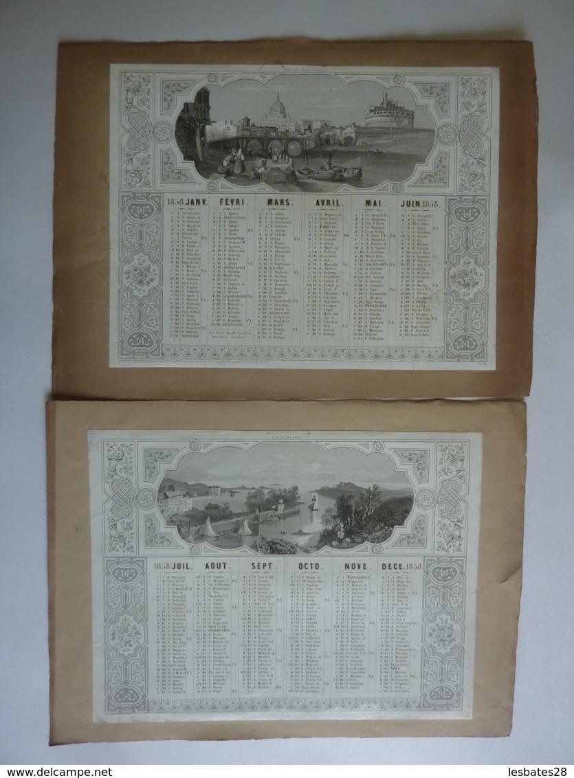 LITHOGRAPHIE  ALMANACH - CALENDRIER De 2 SEMESTRIELS 1858   Port St Ange A ROME Et VUE EN IRLANDE - Calendriers