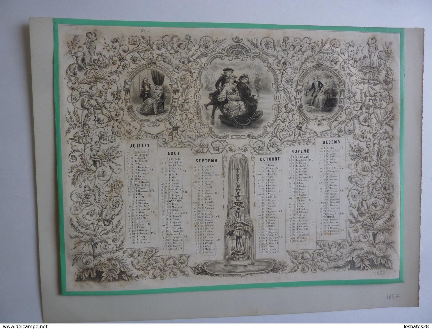 LITHOGRAPHIE- ALMANACH - CALENDRIER  1857  Allegorie Séduction   Idylle /Angelots  - - Calendriers