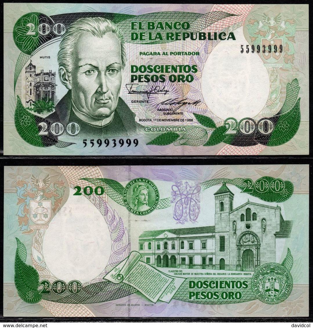 COLOMBIA - 1988 - DOSCIENTOS PESOS ORO ( $ 200 ) - UNCIRCULATED. CONDITION 9/10 - Colombie