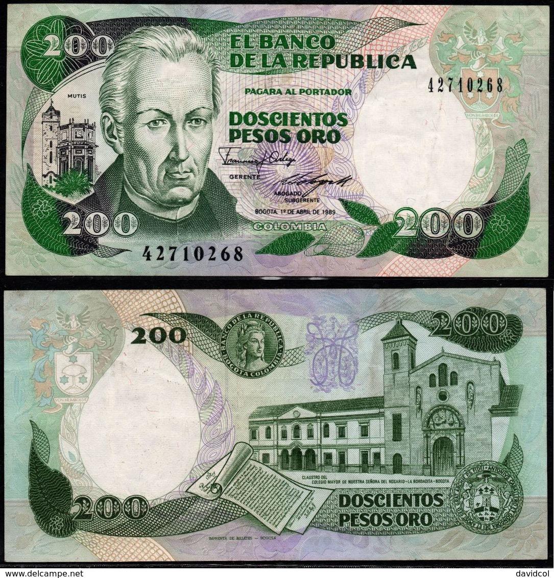 COLOMBIA - 1989- DOSCIENTOS PESOS ORO ( $ 200 ) - UNCIRCULATED. CONDITION 9/10 - Colombie