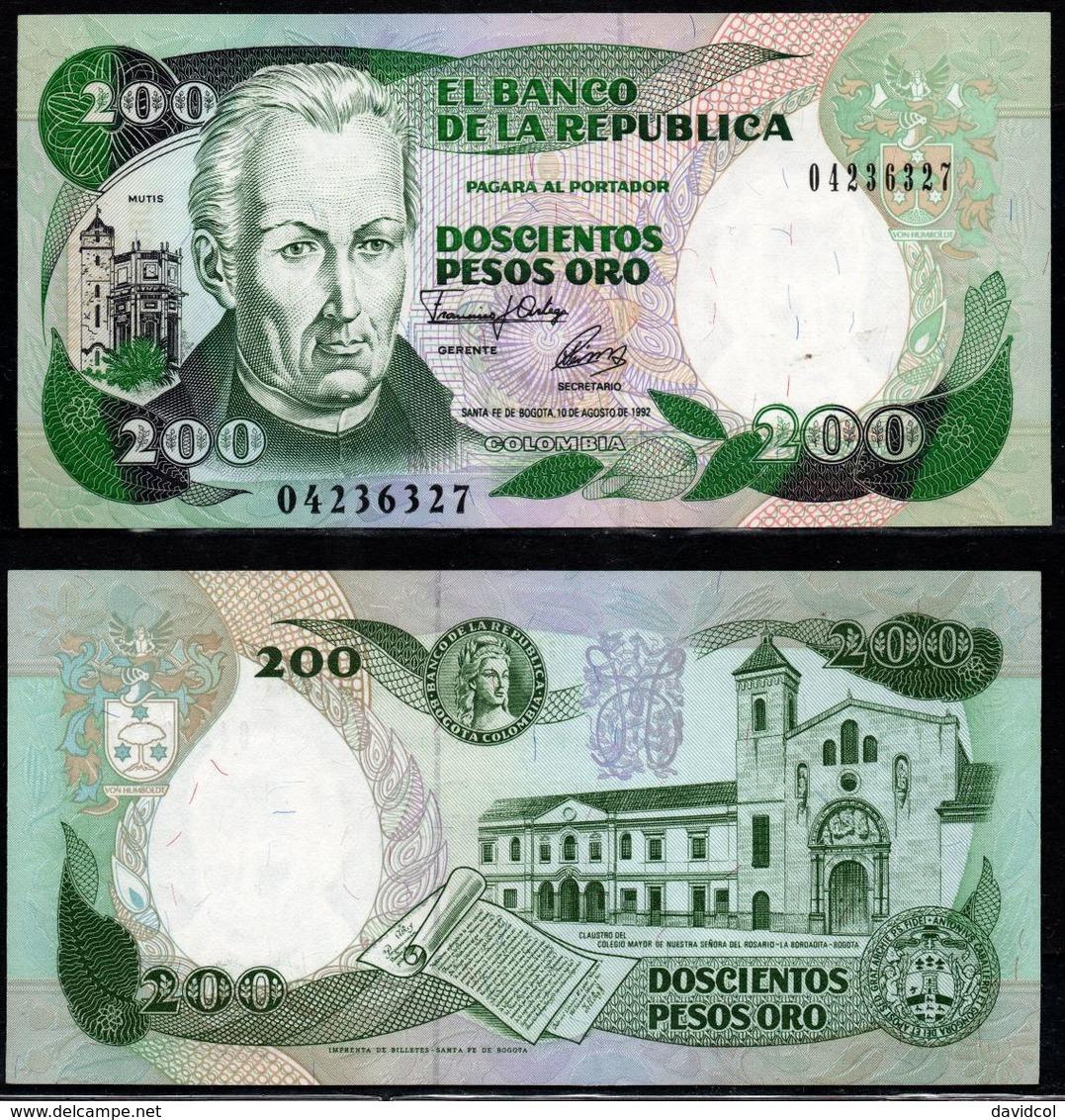 COLOMBIA - 1992- DOSCIENTOS PESOS ORO ( $ 200 ) - UNCIRCULATED. CONDITION 9/10 - Colombie