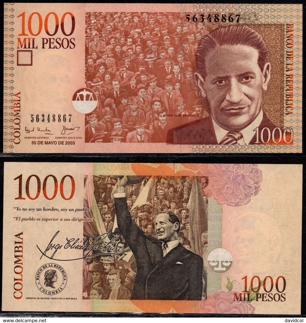 COLOMBIA - 2003- MIL PESOS  ( $ 1000 ) - UNCIRCULATED. CONDITION 9/10 - Colombie