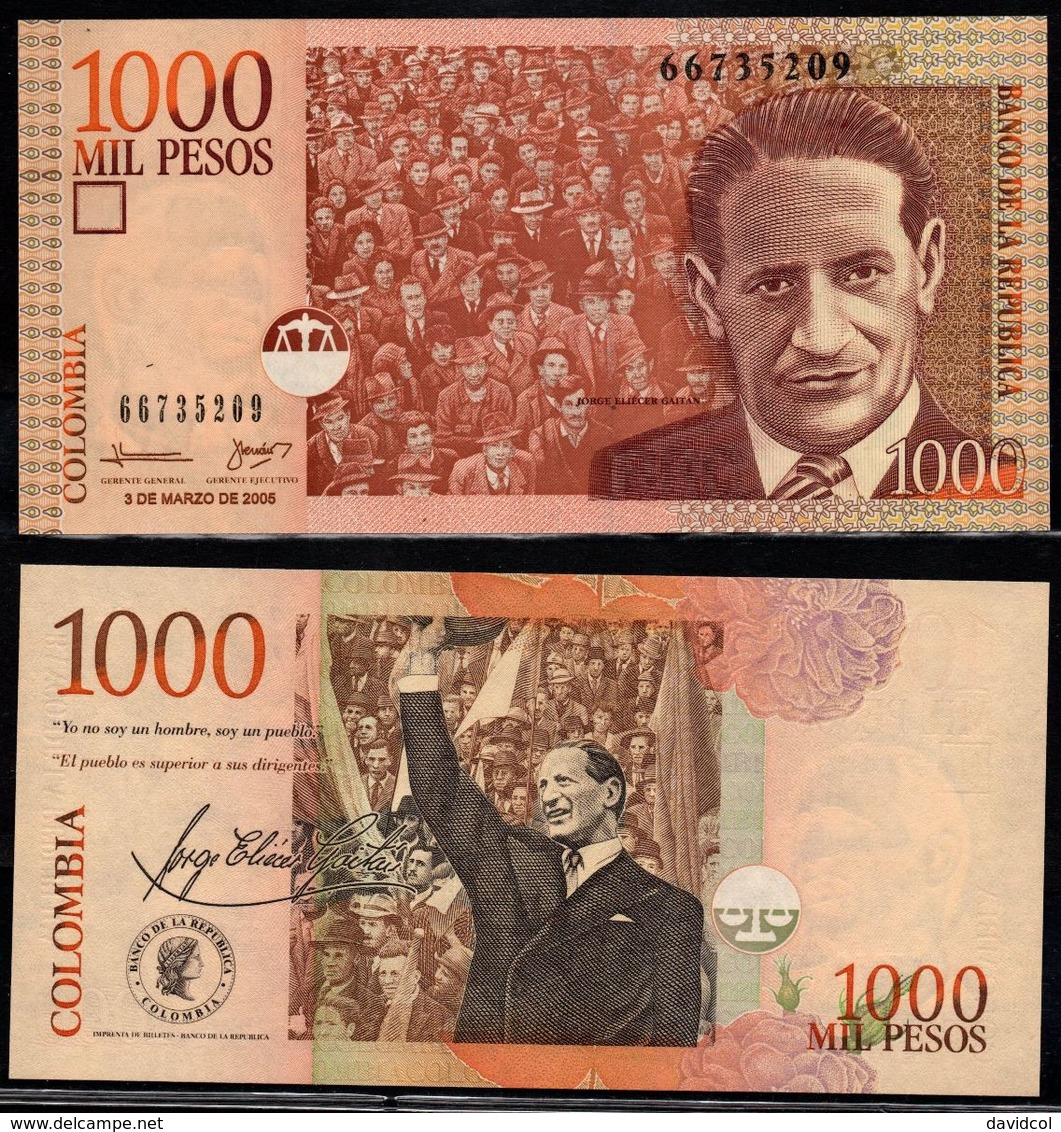 COLOMBIA - 2005- MIL PESOS  ( $ 1000 ) - UNCIRCULATED. CONDITION 9/10 - Colombie
