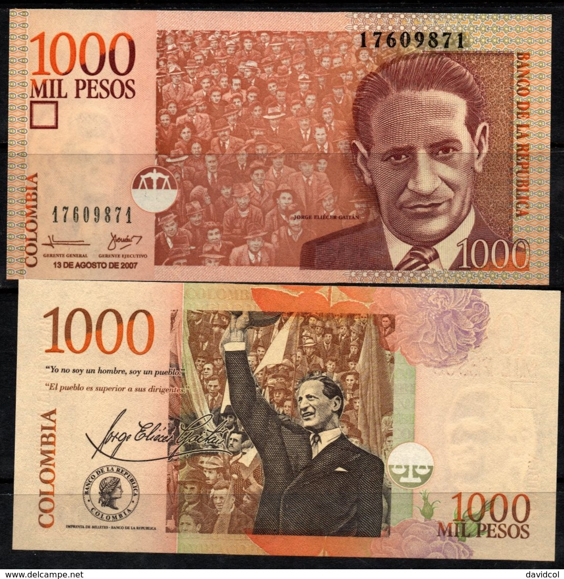 COLOMBIA - 2007- MIL PESOS  ( $ 1000 ) - UNCIRCULATED. CONDITION 9/10 - Colombie