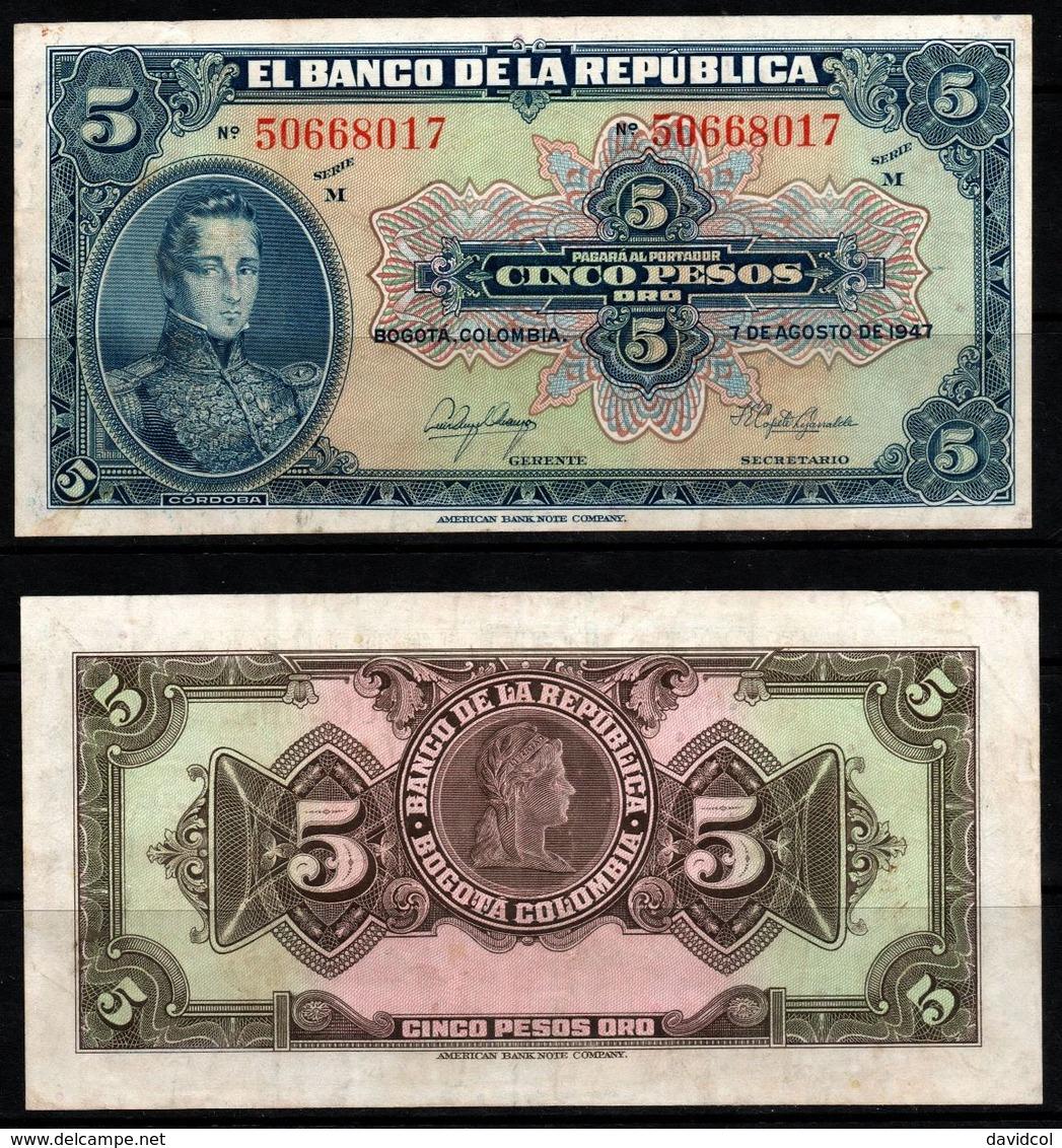 COLOMBIA - 1947- CINCO PESOS  ( $ 5 ) - CIRCULATED. CONDITION 7/10 - Colombie