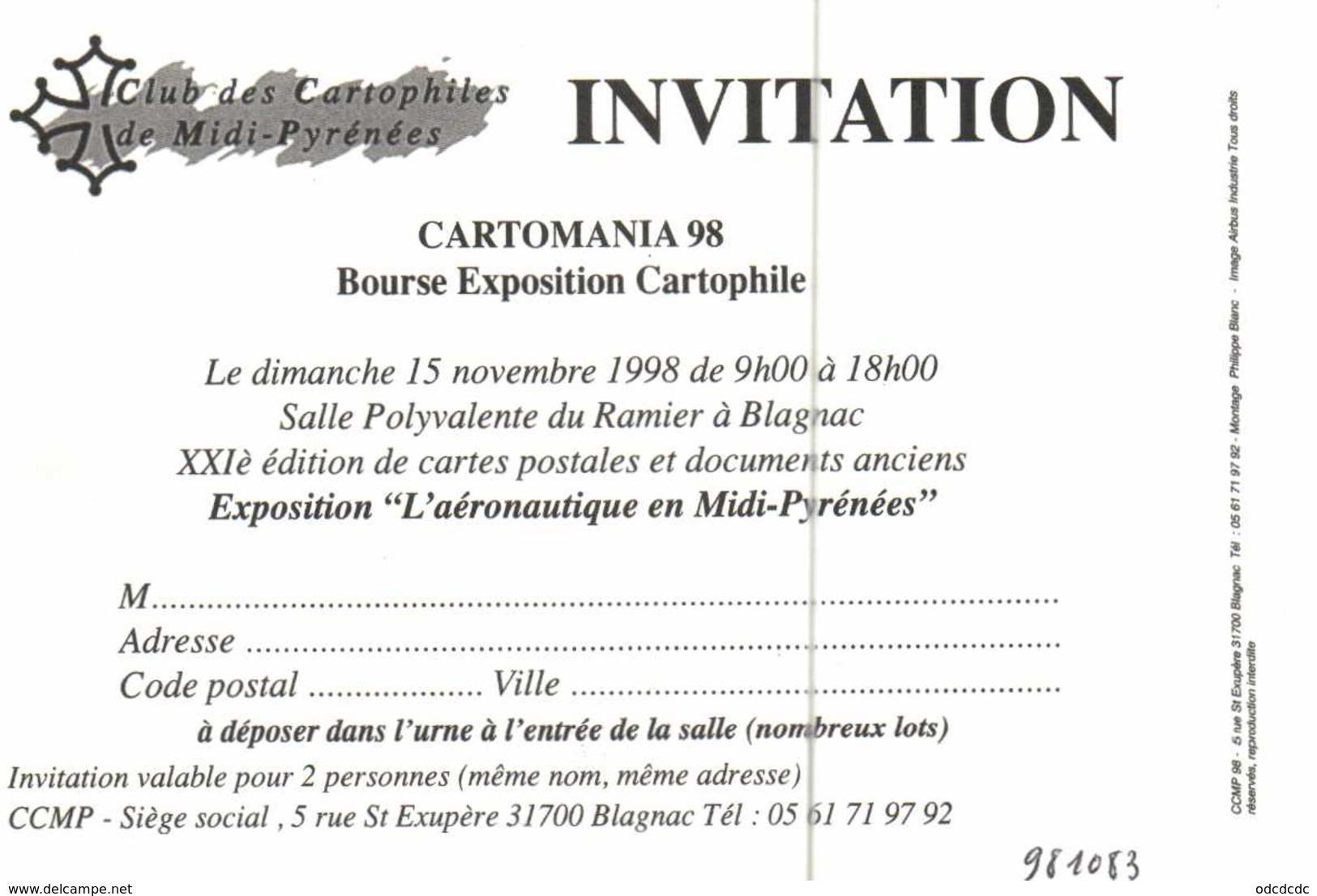 CARTOMANIA  15 Novembre 98 BLAGNAC  L' Aéronautique En Midi Pyrénées Avion  RV - Bourses & Salons De Collections