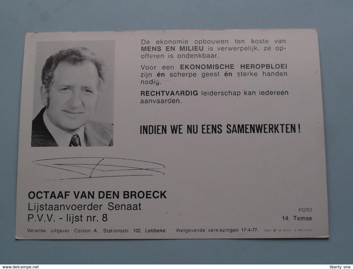 TEMSE ( Publi Kaart Politiek P.V.V. - ) ( Foto Colson Lebbeke Anno 1977 ) ( Zie / Voir Photo ) ! - Temse