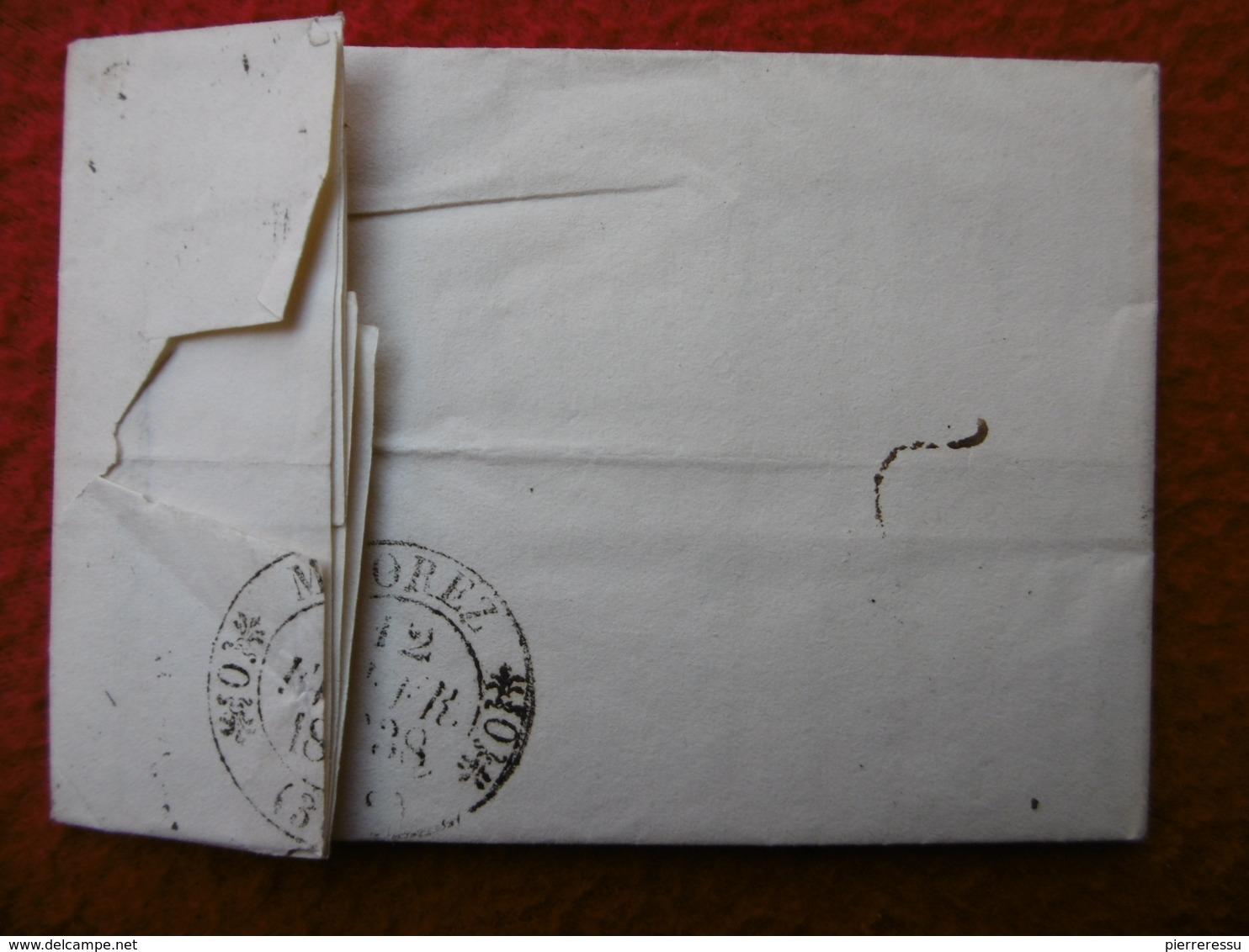 LETTRE DE St GILLES TAXE 7 VIA MOREZ A ROMANET HORLOGER FABRICANT D HORLOGES 1838 - Postmark Collection (Covers)