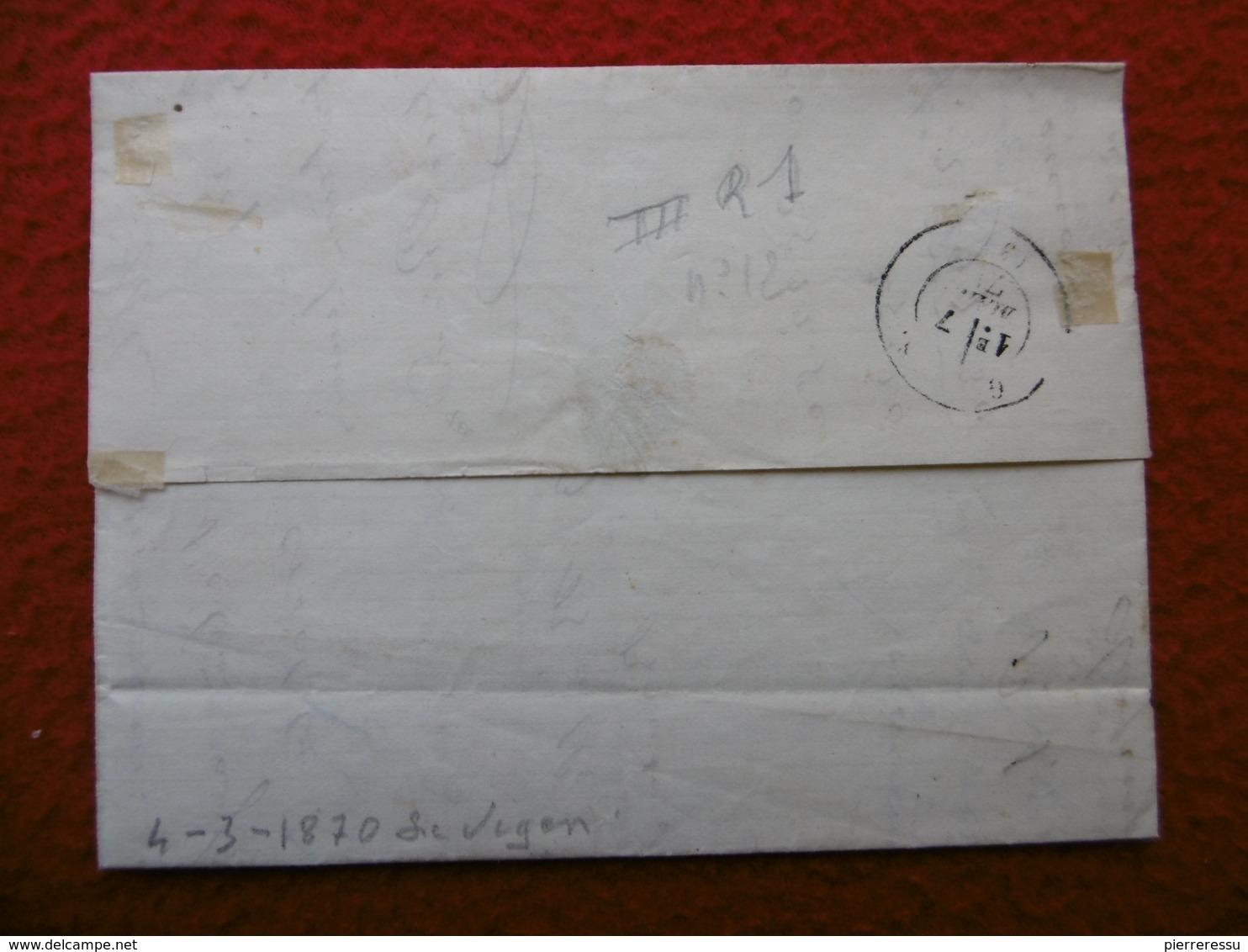LETTRE TIMBRE CERES EMISSION DE BORDEAUX CACHET LE VIGAN GC 4204 VIA GANGES 1871 - Marcophilie (Lettres)