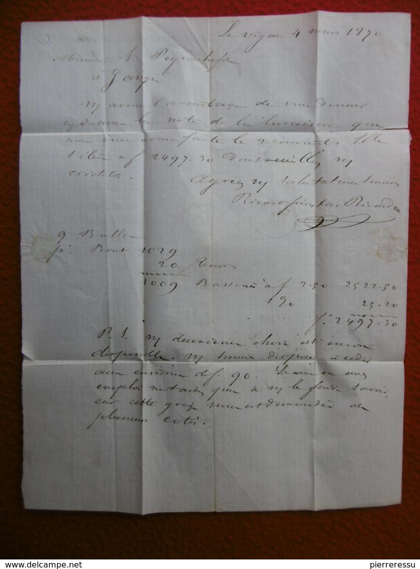 LETTRE TIMBRE CERES EMISSION DE BORDEAUX CACHET LE VIGAN GC 4204 VIA GANGES 1871 - 1849-1876: Classic Period