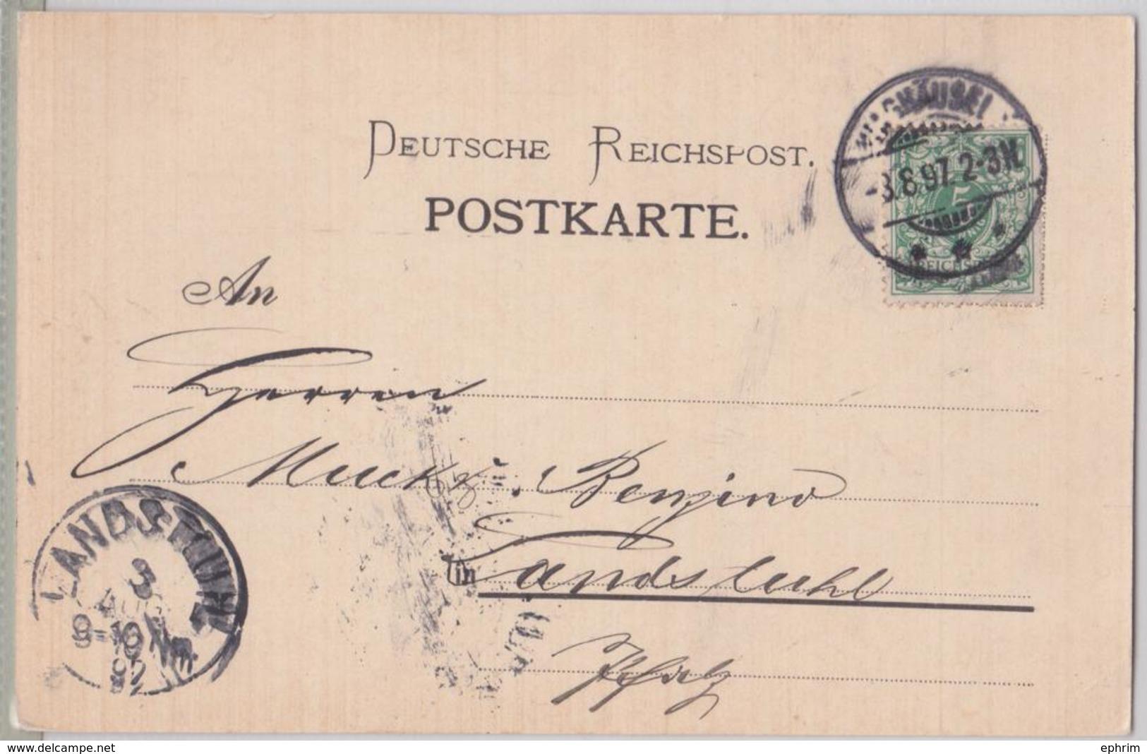 WAGHAÜSEL POSTKARTE NACH LANDSTUHL 1897 - BADISCHE GESELLSCHAFT FÜR ZUCKERFABRIKATION ZUCKER FABRIK SUCRE SUCRERIE - Germany