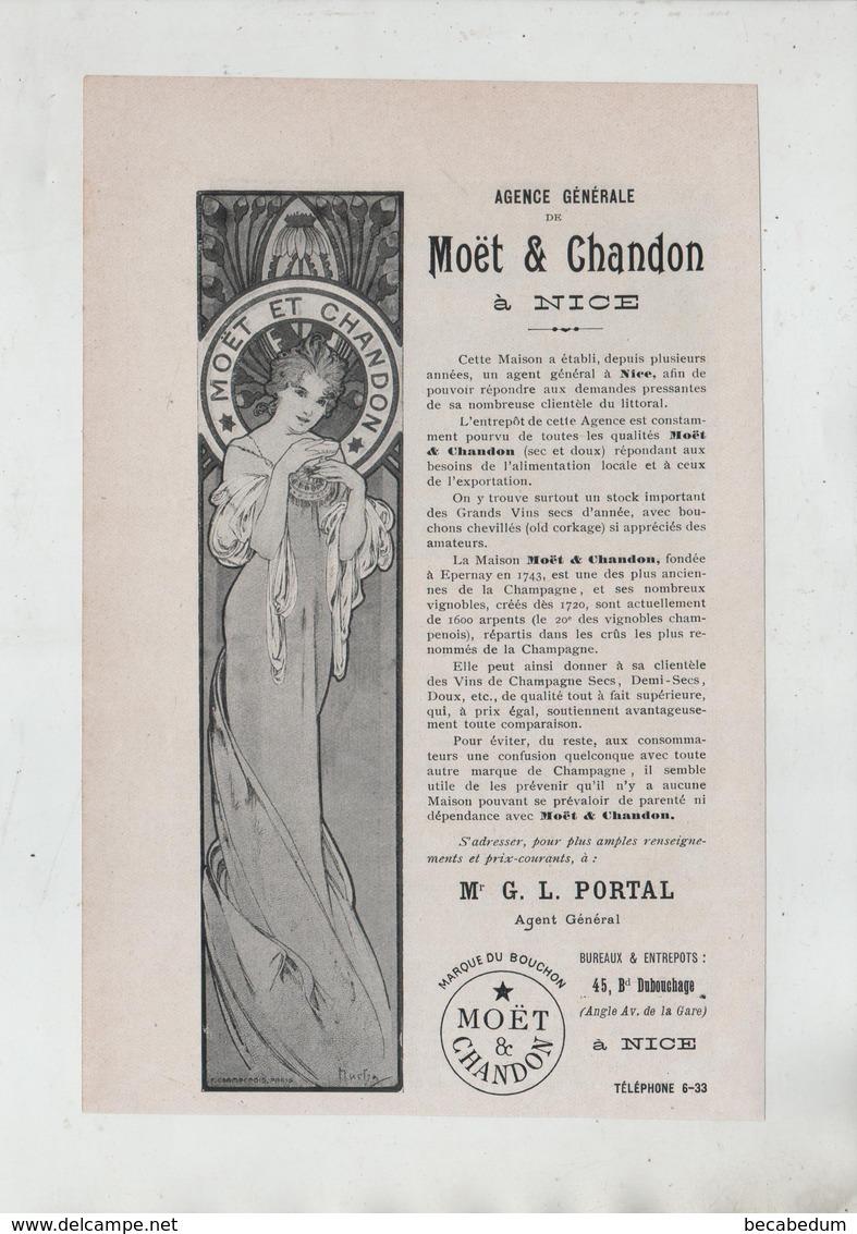 Publicité Art Nouveau 1904 Moet Et Chandon Nice Portal - Werbung