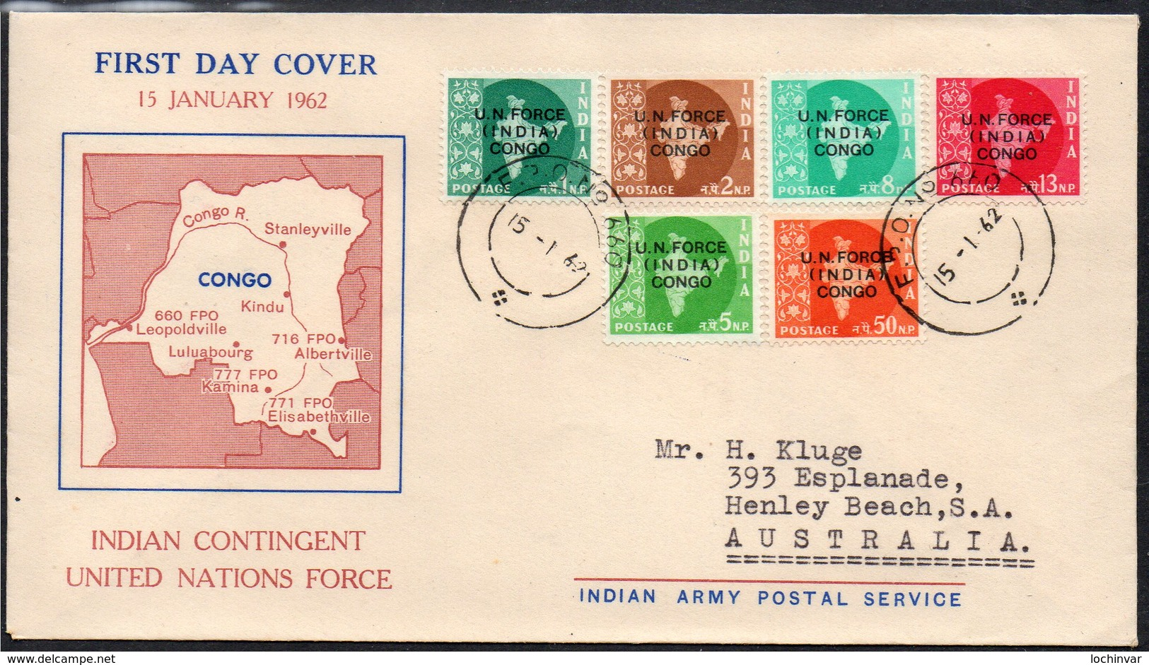 INDIA, 1962 FDC O/PRINTED FOR U.N. FORCE CONGO - Lettres & Documents