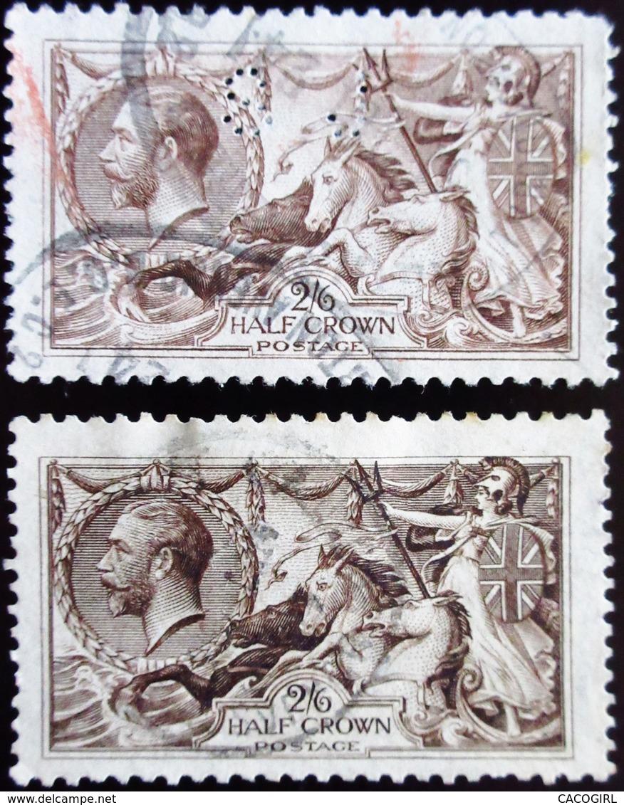 Perfin Perforé SJ .   SG George V Half Crown N°153a  . 2 Teintes Couleurs - Perforés