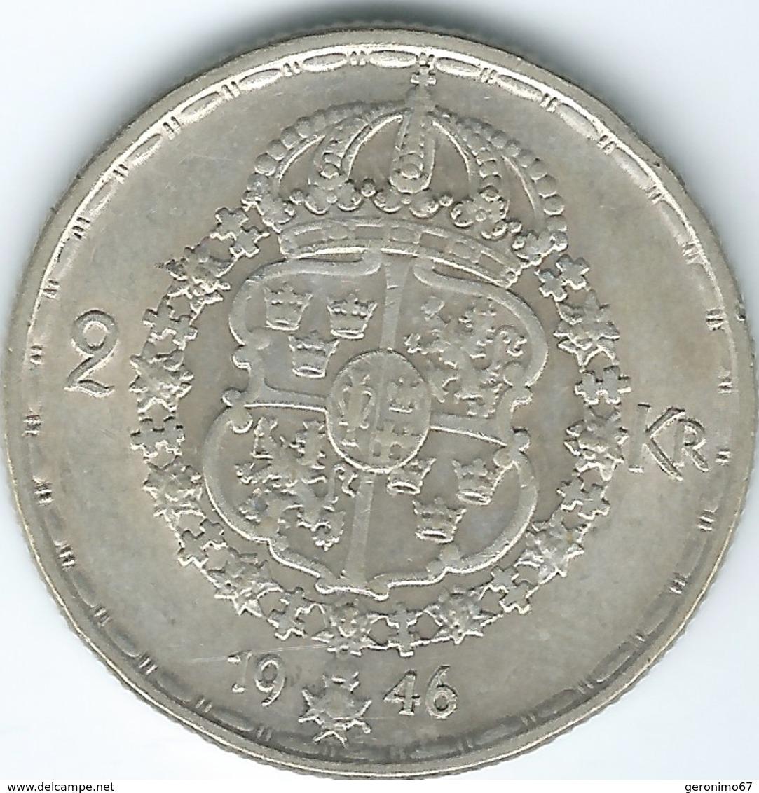 Sweden - Gustav V - 2 Kronor - 1938 (KM787) & 1946 (KM815) - Suède