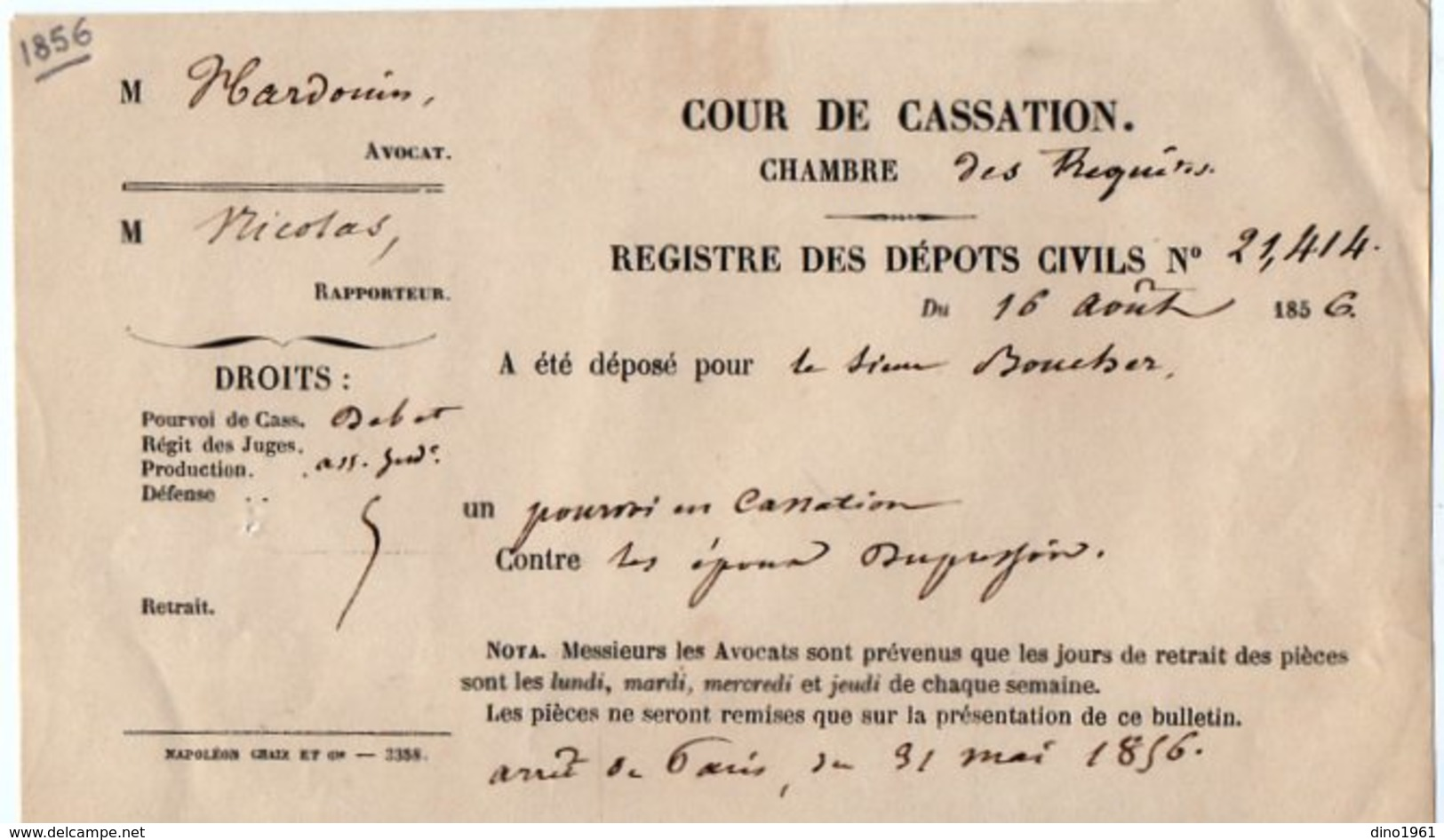 VP14.530 - PARIS 1856 - Cour De Cassation - Registre Des Dépots Civils - Old Paper