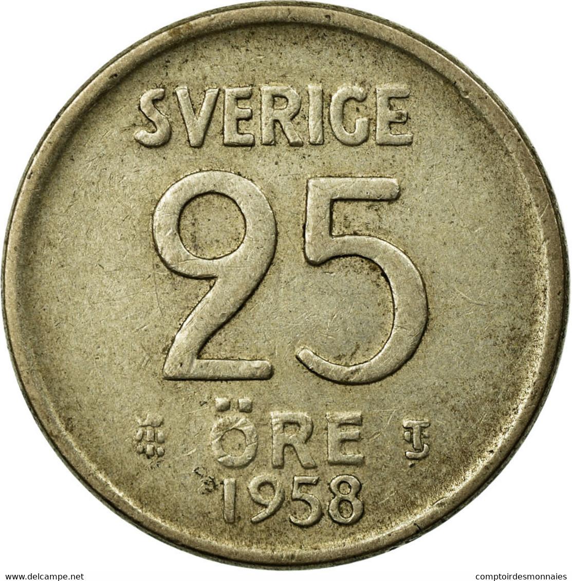 Monnaie, Suède, Gustaf VI, 25 Öre, 1958, TTB, Argent, KM:824 - Suède
