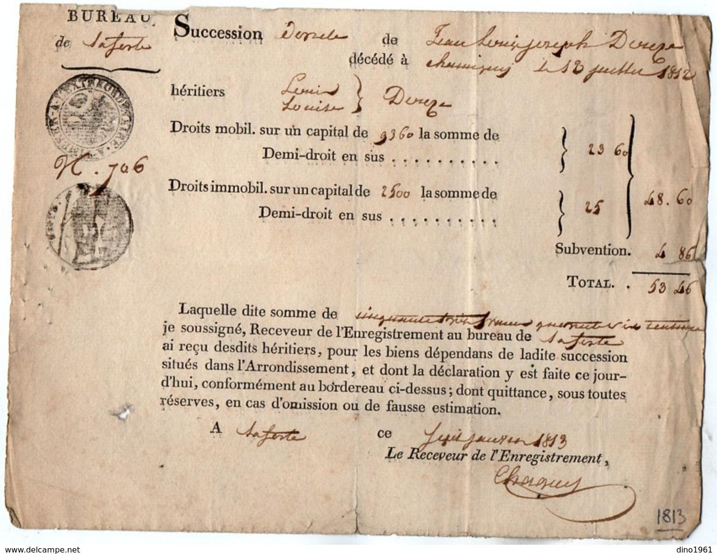 VP14.544 - Bureau De ? 1813 - Succession De Jean Louis Joseph ? - Quittance - Collections