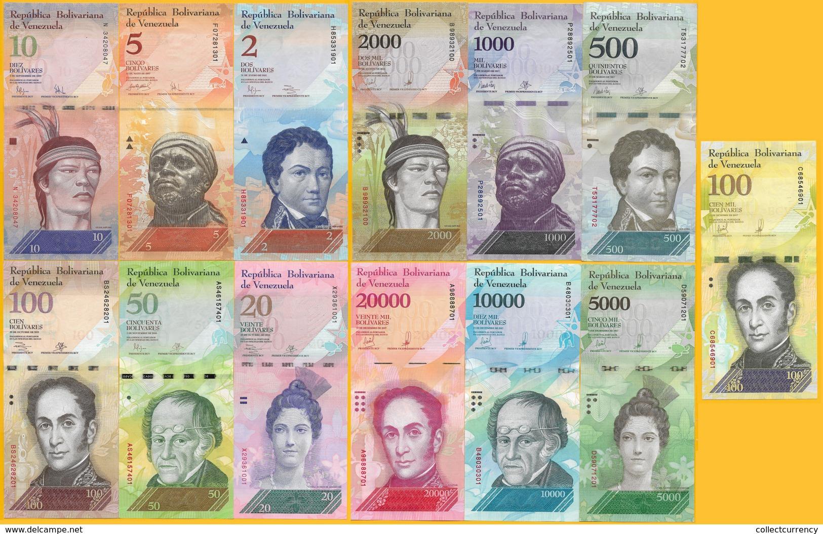 Venezuela Set 2 5 10 20 50 100 500 1000 2000 5000 10000 20000 100000 Bolivares (Set Of 13 Banknotes) UNC - Venezuela