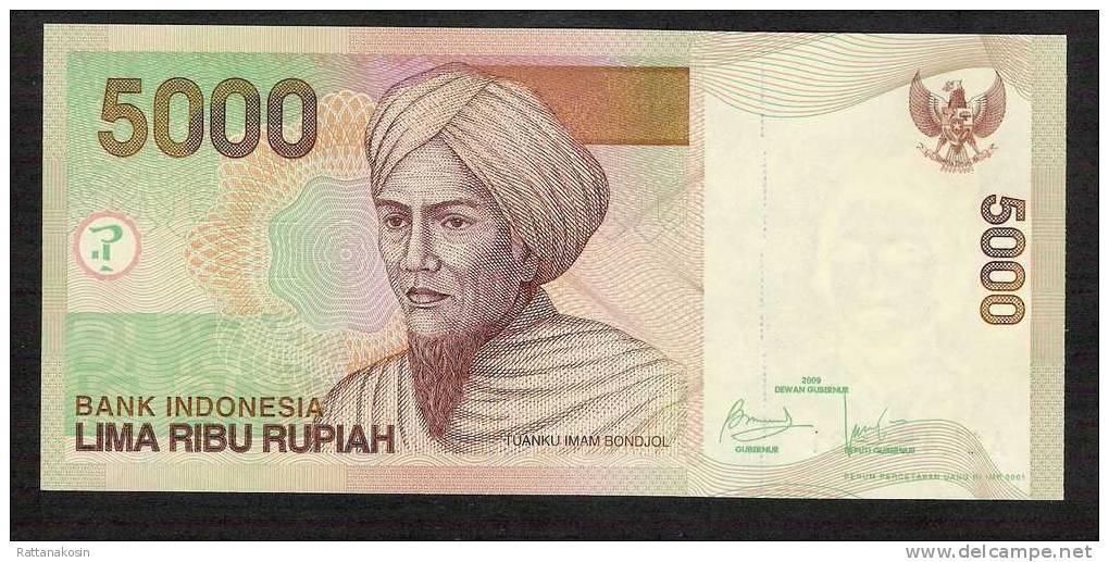 INDONESIA  P142i 5000 RUPIAH #ACL  2009 MICRODATED 2001  UNC. - Indonésie