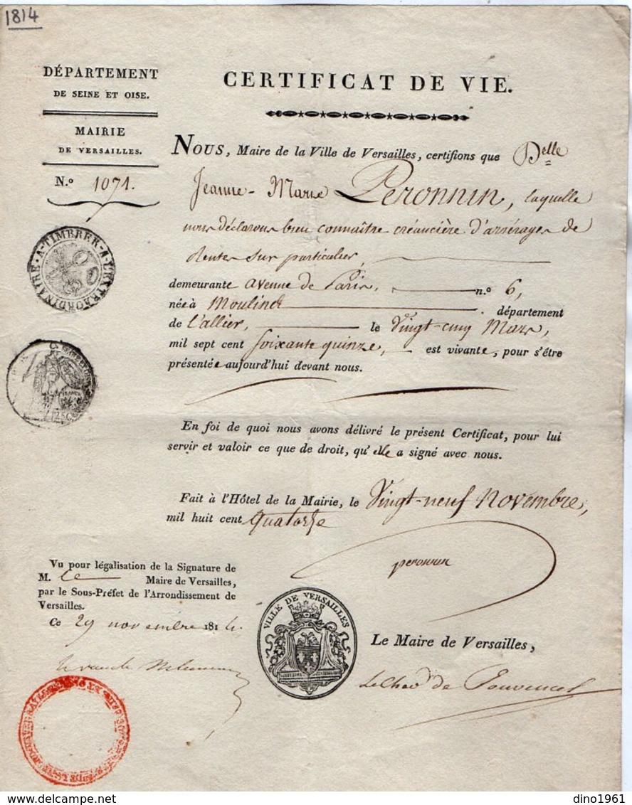 VP14.557 - Ville De VERSAILLES 1814 - Certificat De Vie - Delle Jeanne - Marie PERONNIN Née à MOULINS - Collections