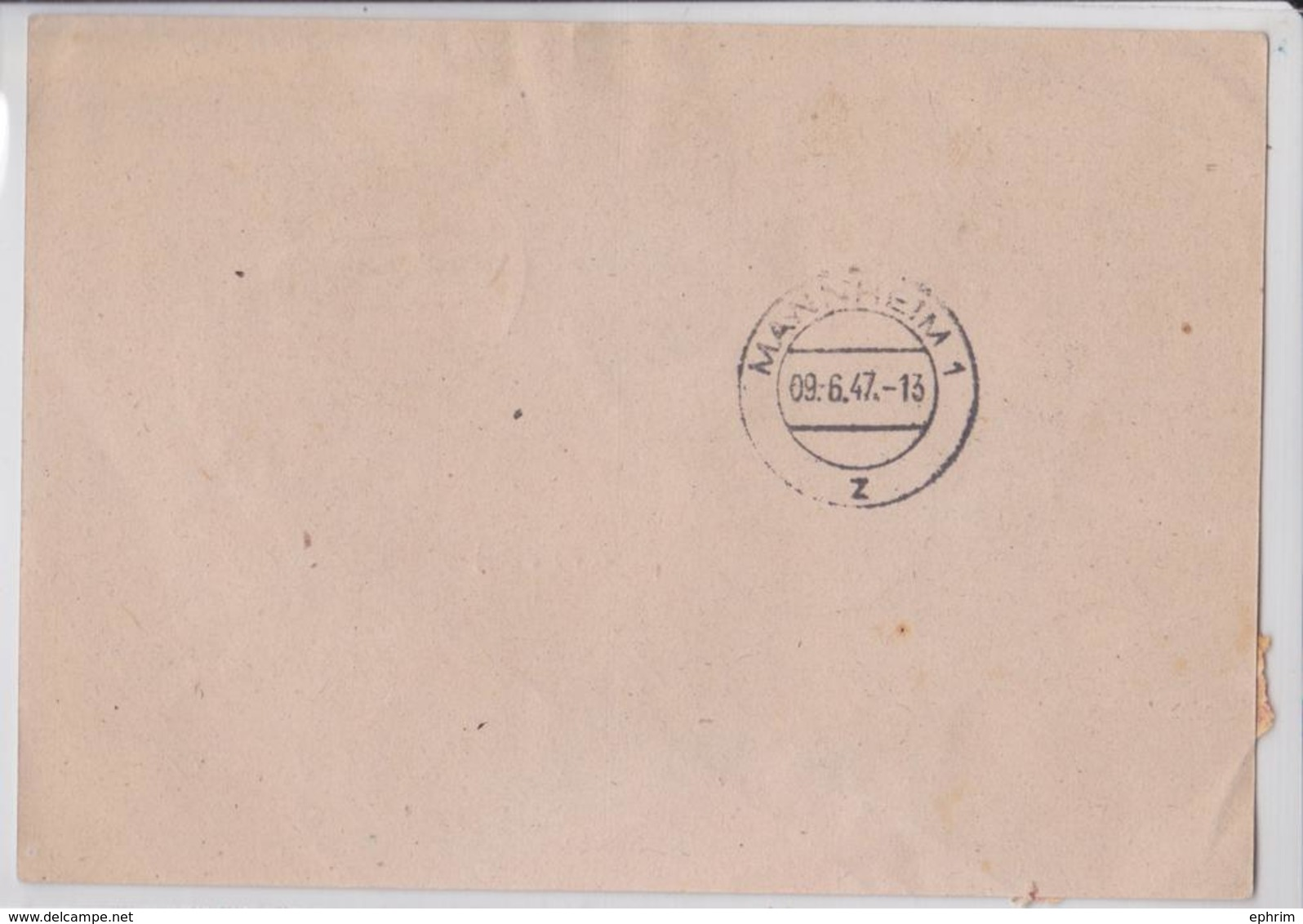 MANNHEIM EINSCHREIBEN POSTKARTE 09.06.1947 CARTE POSTALE VIGNETTE RECOMMANDEE REGISTERED LABEL POSTCARD - Allemagne