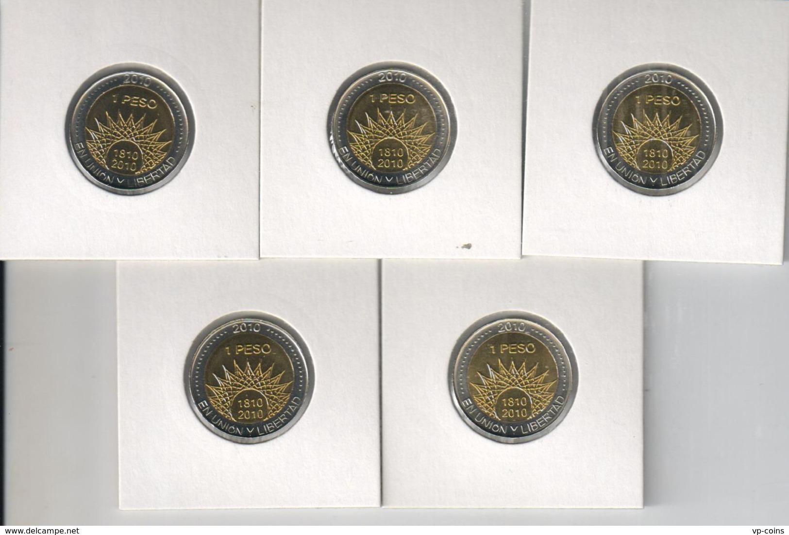 Argentina. Set, Set Of Coins. 5 Coins On 1 Peso. Bimetal. UNC. 2010 - Argentine