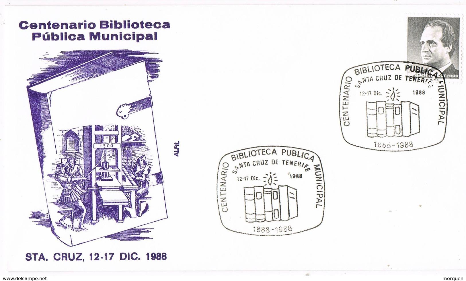 31883. Carta SANTA CRUZ De TENERIFE (Canarias) 1988. Centemario BIBLIOTECA Municipal - 1931-Hoy: 2ª República - ... Juan Carlos I