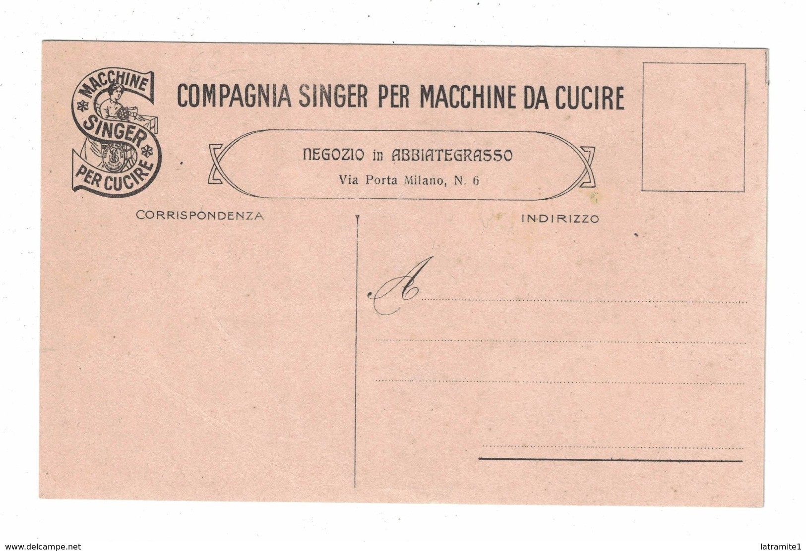 COMPAGNIA SINGER MACCHINE DA CUCIRE   CARTOLINA PUBBLICITARIA - Pubblicitari