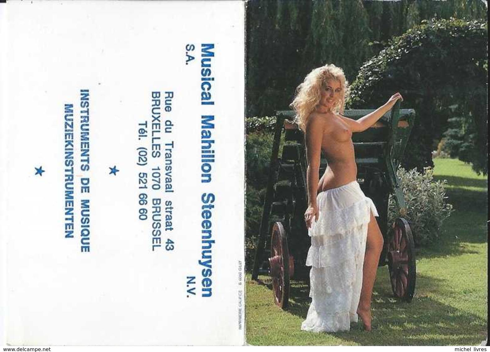 Calendrier De Poche Pin-Up Topless - Musical Mahillon Steenhuizen Anderlecht - 1993 - TBE - Erotiques (…-1960)