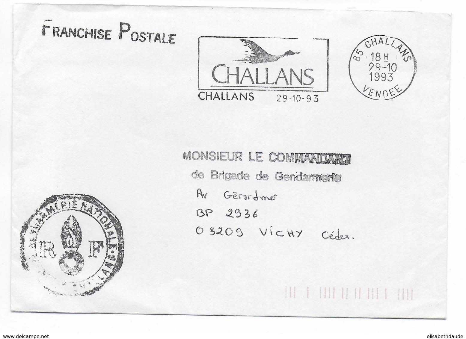 1993 - GENDARMERIE - ENVELOPPE En FRANCHISE De CHALLANS (VENDEE) - Marcophilie (Lettres)