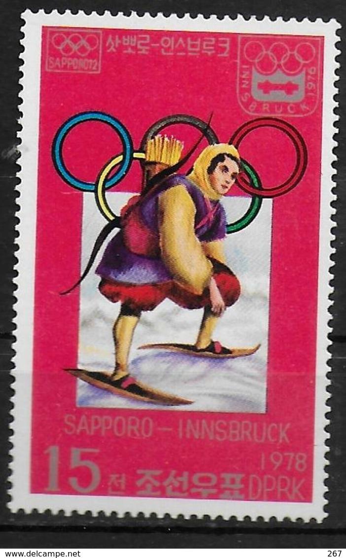 COREE DU NORD   N° 1441D  * *     Jo 1976  Ski  Tir A L Arc    Chasse - Tiro Con L'Arco
